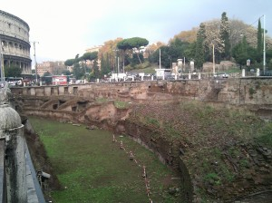 The ruins of the north side of the gladiatorial practice arena in the Ludus Magnus (Colosseum in background).