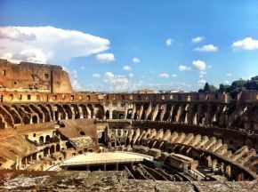 In which we stand where the gladiators stood. I'm so not kidding about this.